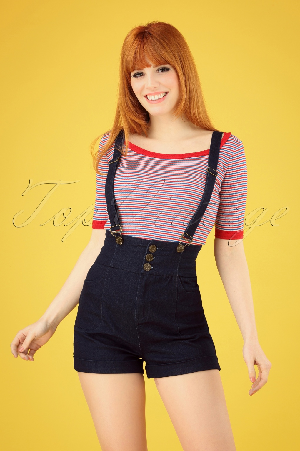 Vintage High Waisted Shorts, Sailor Shorts, Retro Shorts 50s Nomi Dungaree Shorts in Denim Blue £44.16 AT vintagedancer.com