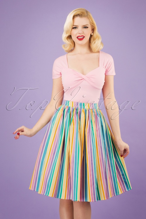 Collectif Clothing 27631 Jasmine Rainbow Striped Swing Skirt 20190121 1W