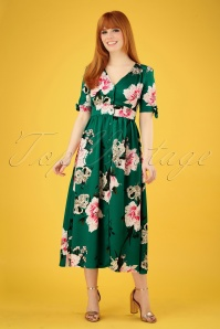 70s Antonia Floral Midi Dress in Green
