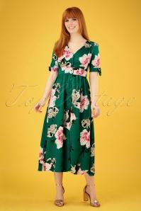 Wild Pony Antonia Floral Midi Dress Années 70 en Vert