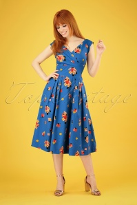50s Florence Sweet Summer Blooms Dress in Blue