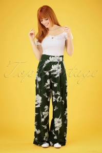 Vixen 70s Stephanie Floral Palazzo Trousers in Moss Green