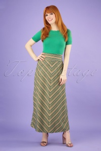 60s Trophy Stripe Border Maxi Skirt in Lapis