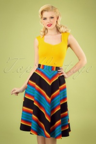 50s Evelyn Stripes Swing Skirt in Black