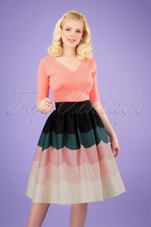 50s sofia scalloped swing skirt in multi