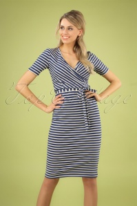 50s Anja Breton Stripes Dress in Nuit Blue