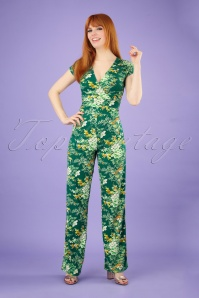 70s Lot Makura Jumpsuit in Para Green