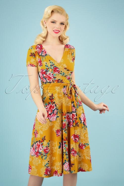 Vintage Chic 28775 Mustard Floral Dress 20190305 020W
