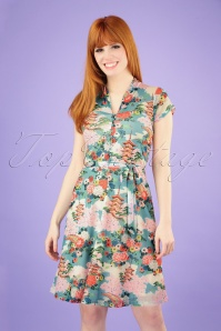 60s Emmy Blossom Dress in Scuba Blue