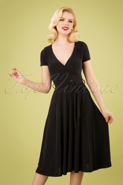 Vintage Chic 28759 Black Short Slinky Dress Swing 20190206 1W