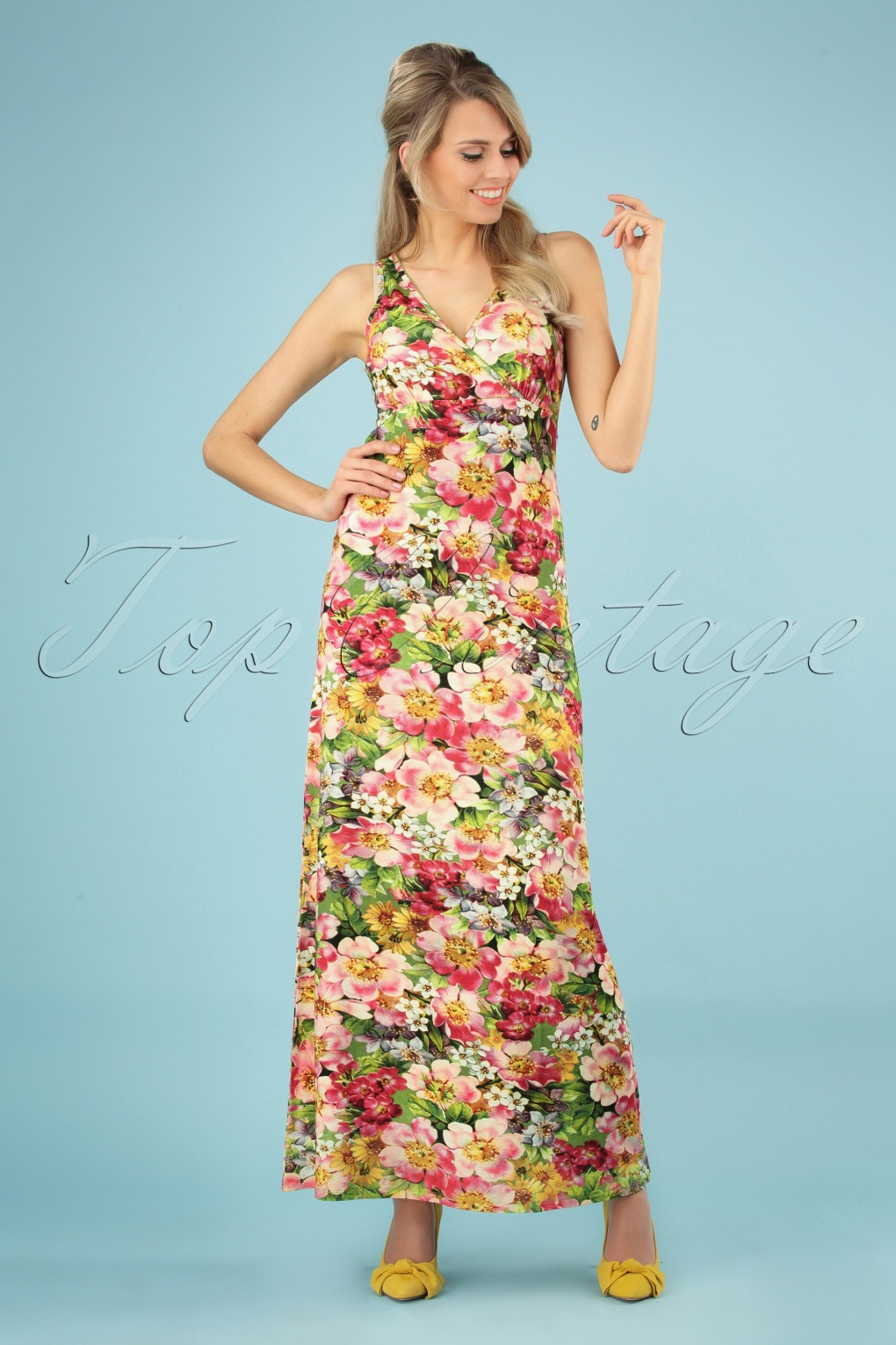 31bb6aff24 70s Wild Floral Maxi Dress in Green and Pink
