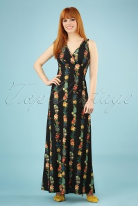 70s Garland Maxi Dress in Black