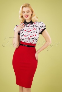 50s Feline Pencil Skirt in Lipstick Red