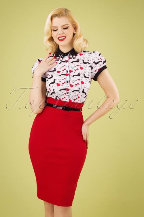Vintage Chic 28739 Scube Crepe Red Pencil Skirt 20190207 1Q