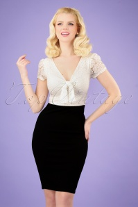 50s Rose Lace Top Pencil Dress in Black and Ivory