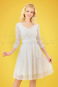 50s Chiara Lace Swing Dress in Ivory