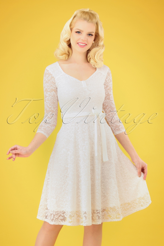 50s Wedding Dress, 1950s Style Wedding Dresses, Rockabilly Weddings 50s Chiara Lace Swing Dress in Ivory �37.65 AT vintagedancer.com