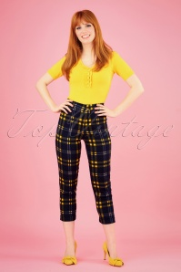 60s Jaylo Checkmate Trousers in Navy