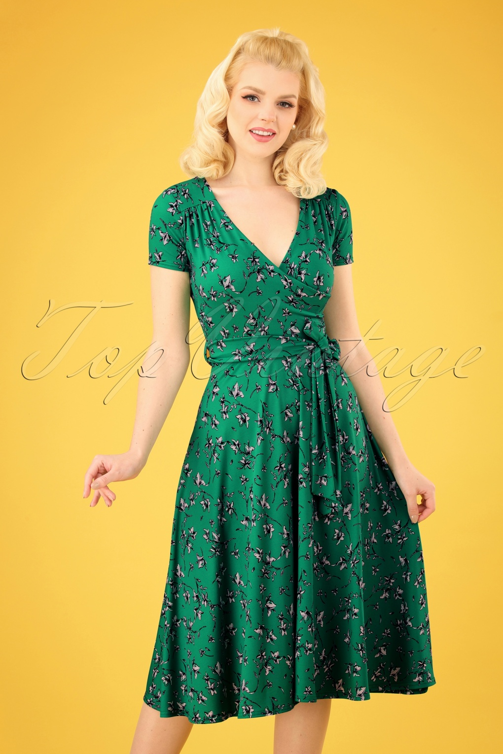 61589cdeb6 50s Faith Floral Swing Dress in Emerald