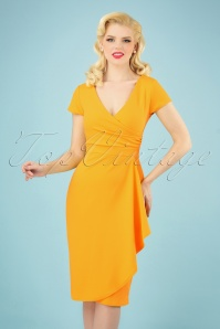 Crystal Pencil Dress Années 50 en Jaune Miel