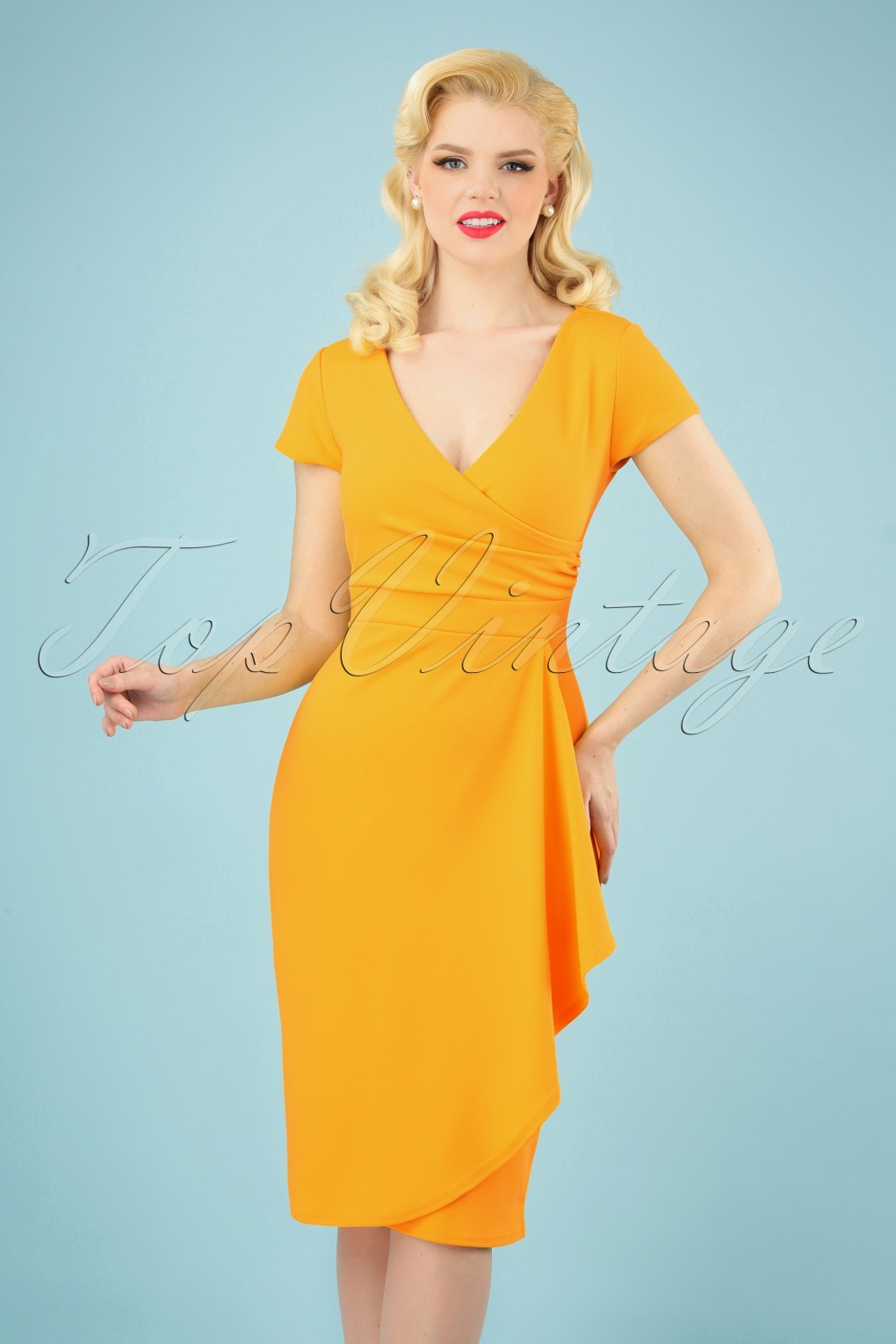 Wiggle Dresses | Pencil Dresses 40s, 50s, 60s 50s Crystal Pencil Dress in Honey Yellow £35.02 AT vintagedancer.com