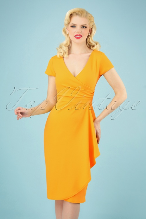 Vintage Chic 28751 50s Crystal Honey Yellow Pencil Dress 20190312 004 020W