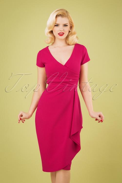Vintage Chic 28744 50s Crystal Pencil Dress in Magenta 20190208 1W