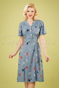 40s A Lovely Moment Dress in Bamboo Blue