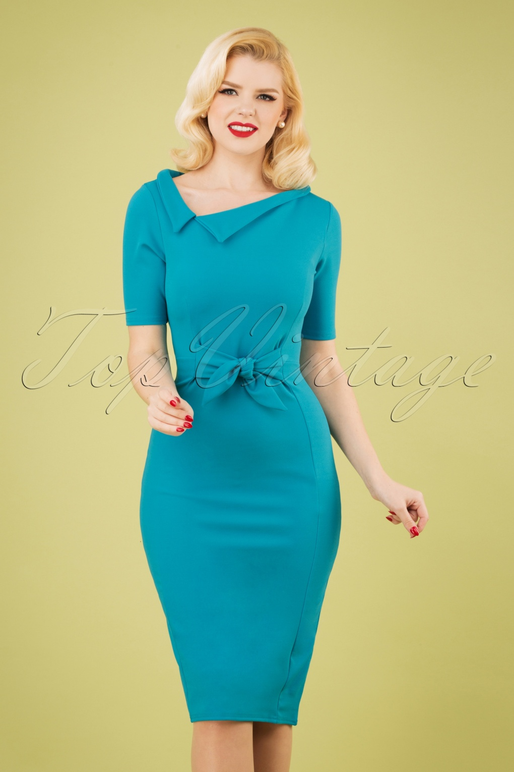 Dress Like the Marvelous Mrs. Maisel 50s Jennifer Pencil Dress in Aqua Blue �49.34 AT vintagedancer.com