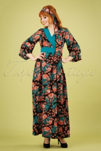 Festival Feelings Floral Maxi Dress Années 70 en Noir