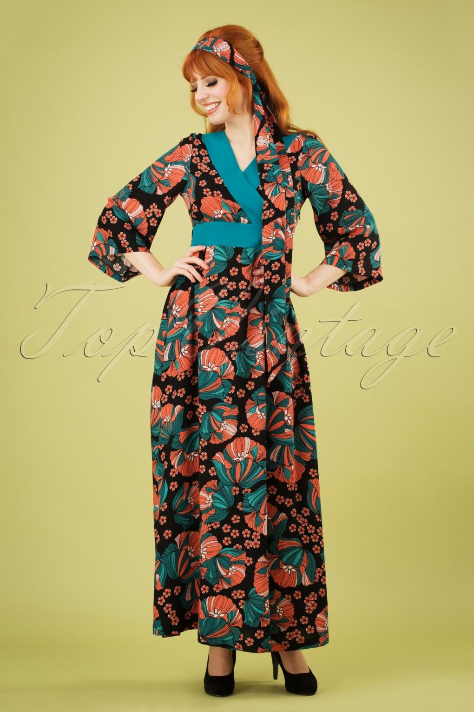 70s Festival Feelings Floral Maxi Dress In Black