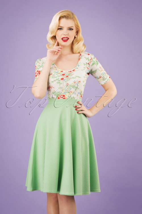 Vintage Chic 28778 Green Jacquard Swing Skirt 20190208 1W