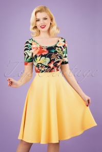 Vintage Chic 28777 Yellow Jacquard Swing Skirt 20190208 1W