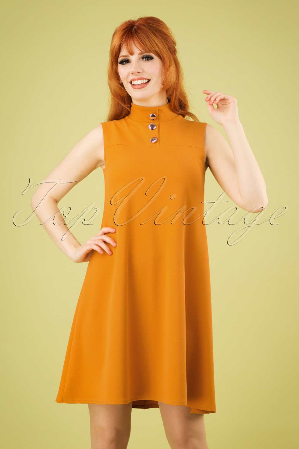 60s Dresses & 60s Style Dresses UK 60s Jean A-Line Dress in Mustard £35.99 AT vintagedancer.com