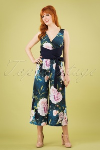 60s Beaufort Rose Floral Culotte Jumpsuit in Navy