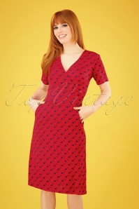 60s Lily Watercan Dress in Red