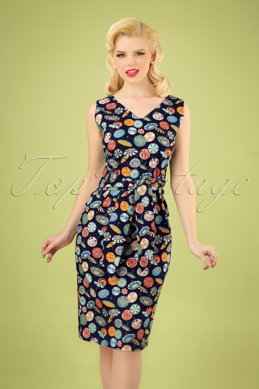 5256e6101b7 TopVintage exclusive ~ 50s Clara Parasol Pencil Dress in Navy