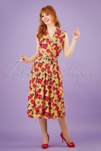 50s Poppy Dream Wrap Dress in Yellow