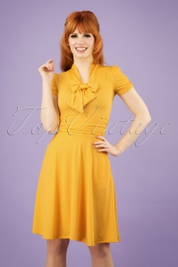 50s Debra Pin Dot Swing Dress in Yellow