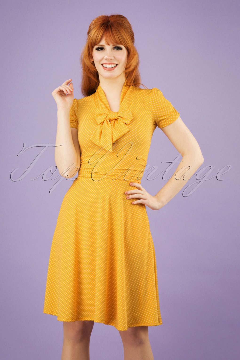 1940s Dresses and Clothing UK | 40s Shoes UK 50s Debra Pin Dot Swing Dress in Yellow £67.30 AT vintagedancer.com