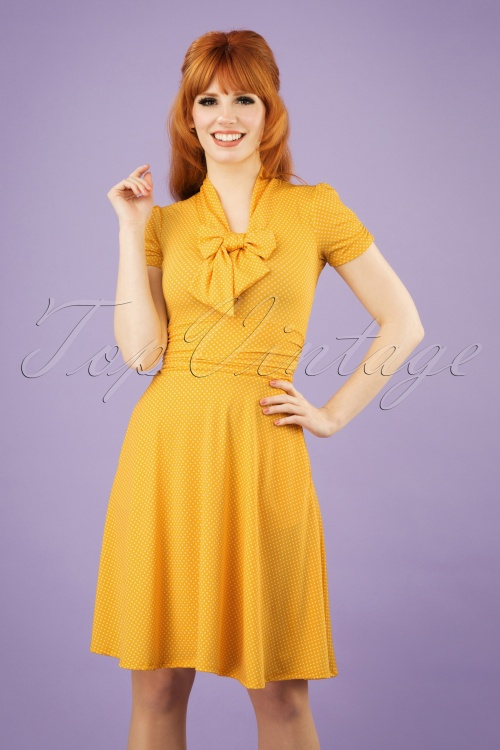 Retrolicious 29027 50s Debra Polkadot Yellow Bow Swing Dress 20190206 1W