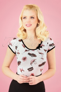 Sassy Sally 50s Leona Vegas Top in White
