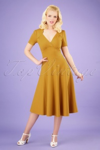 Very Cherry 27002 Hollywood Circle Dress in Mustard 20190312 001 020W