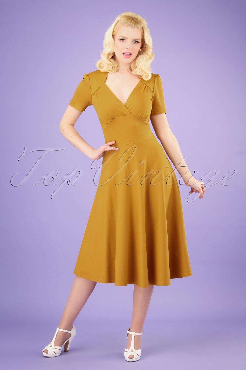 1940s Dresses and Clothing UK | 40s Shoes UK 40s Vivienne Hollywood Circle Dress in Mustard �108.04 AT vintagedancer.com