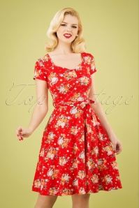 Fabienne Flower Swing Dress Années 50 en Rouge