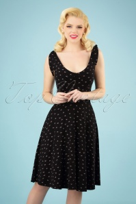 50s Brooke Bow Swing Dress in Black and Pink