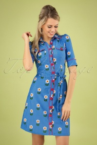 60s Betsy Daisy Dot Dress in Blue