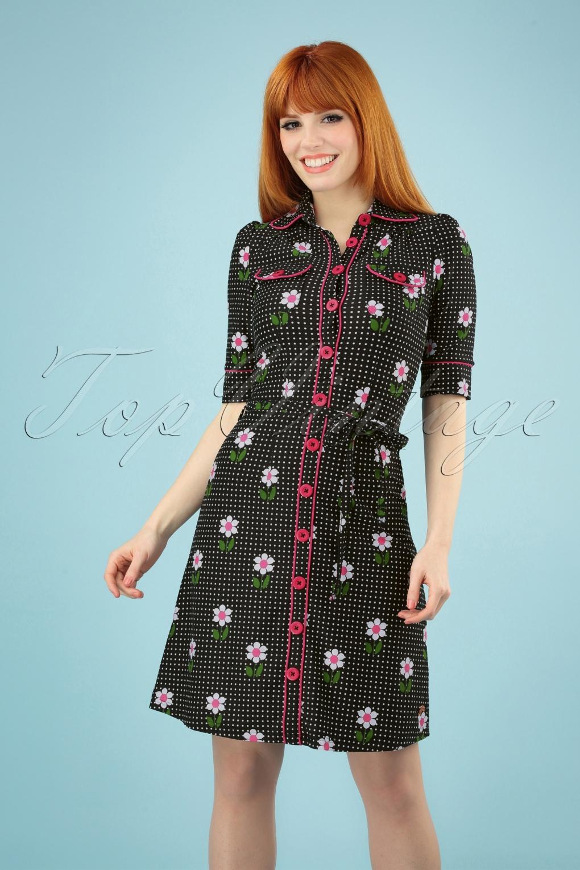 60s Dresses & 60s Style Dresses UK 60s Betsy Daisy Dot Dress in Black �83.20 AT vintagedancer.com