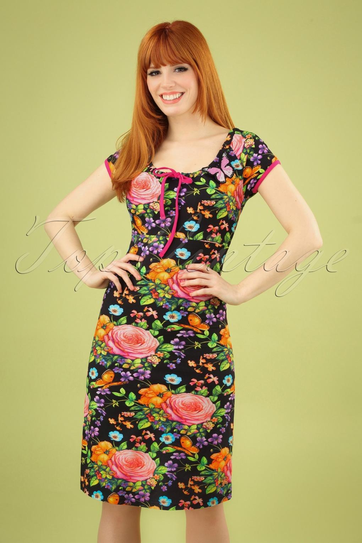 60s Dresses & 60s Style Dresses UK 60s Carmen Butterfly Roses Dress in Black �74.43 AT vintagedancer.com