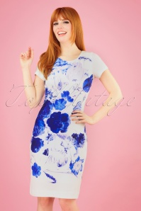 60s Peggy Floral Pencil Dress in Ivory and Blue